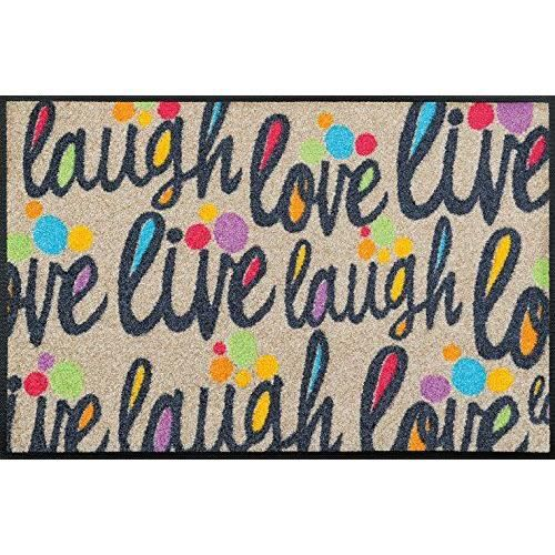 Wash dry 069911 live and laugh tapis nylon caoutchouc for Tapis cuisine wash and dry