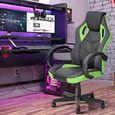Homy Casa Fauteuil gamer Vert et Noir Chaise de jeu avec  Fonction d'inclinaison Rotation 360 degrés Hauteur réglable