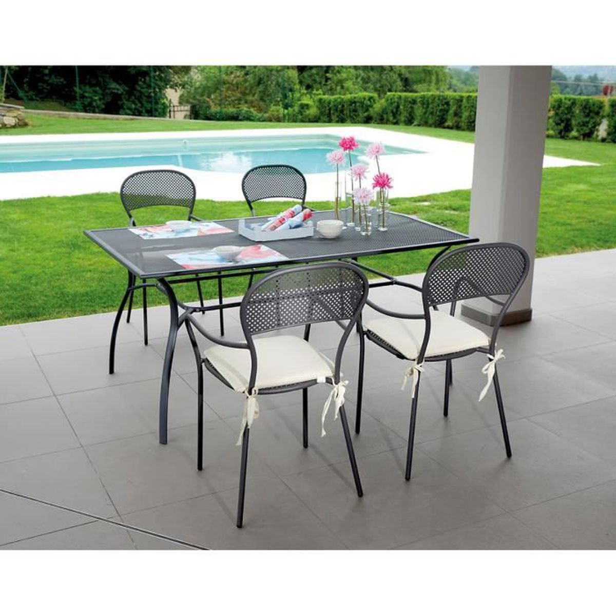 Ensemble de jardin table rectangulaire 4 chaises coloris gris h 73 x l 16 - Ensemble table de jardin ...