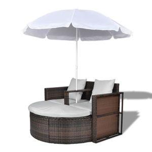CHAISE LONGUE Canapé de 2 Places Rond avec Parasol Poly Rotin Ma