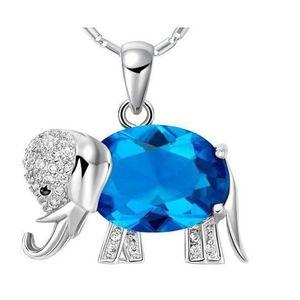 PENDENTIF VENDU SEUL Plaqué or 18 carats Pendentif Eléphants cristal Bi