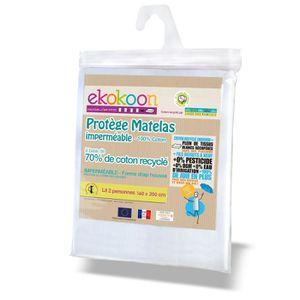 DRAP HOUSSE Ekokoon - Protège Matelas 160x200 cm en Coton Recy