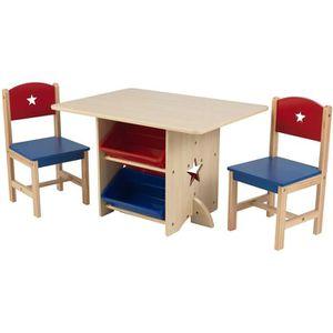TABLE ET CHAISE KIDKRAFT - Table et2 chaises enfant en bois étoil