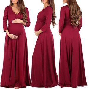 ROBE Femmes Robe enceinte Mode Wrap robe de maternité C