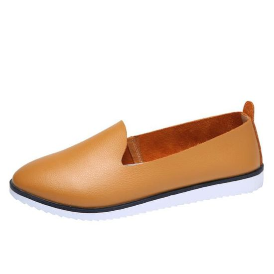 Reservece  Femmes Leather Fashion Flats Shoes Slip On Leisure Lazy shoes Comfortable Sandals marron Marron Marron - Achat / Vente slip-on