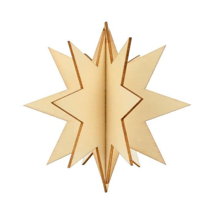 Forme en bois Étoile 3D - Artémio Beige