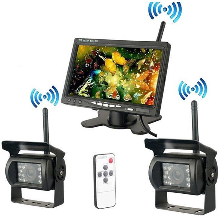 Nouvelle Caméra de Recul Sans Fil 7 Pouces HD LCD Ecran+ 2x Caméra de Voiture Etanche pour Camion RV Bus Remorque +Allume-cigare