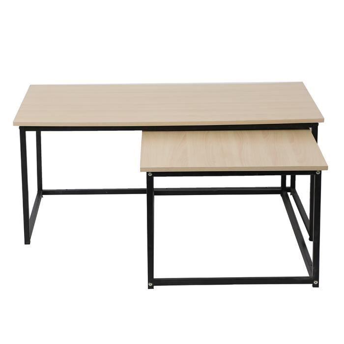 Lot de 2 tables basse design industriel en bois et métal noir 113x60x45cm et 100x60x42cm