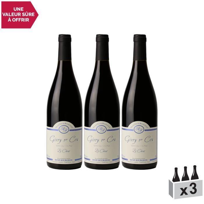 Givry 1er Cru En Choué Rouge 2018 - Lot de 3x75cl - Domaine René Bourgeon - Vin AOC Rouge de Bourgogne - Cépage Pinot Noir