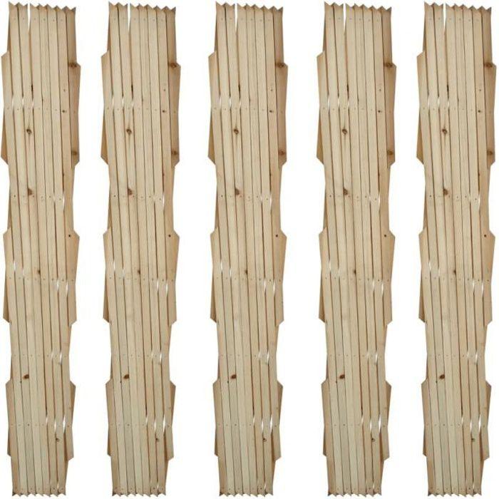 Magnifique-Lot de 5 treillis en bois extensibles 180 x 90 cm - Clôture en treillis jardin- Bois solide 180x90 cm classique💎8536