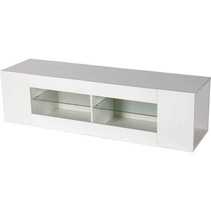 Meuble TV LED -Rain- laqué - Blanc