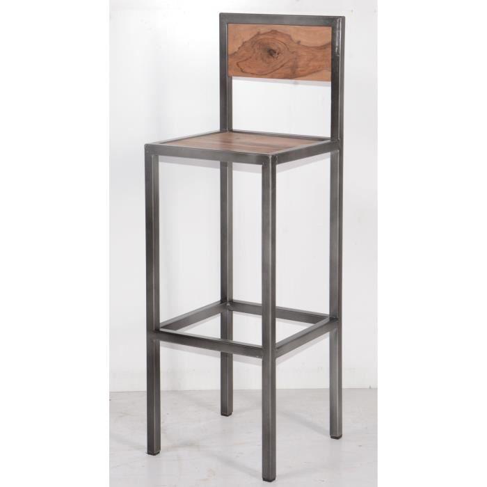 Tabouret de bar industriel en métal et bois 'Industry- Meuble House Marron