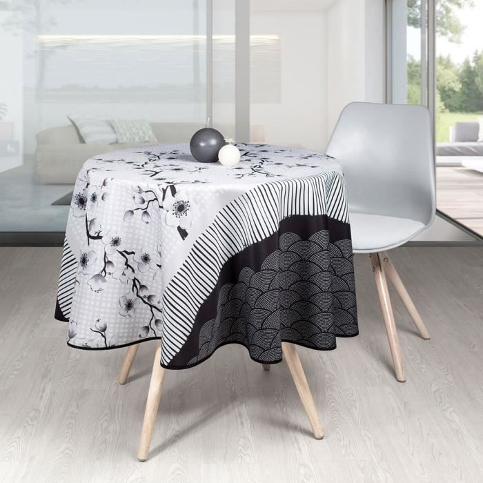 Nappe Antitache Ronde - Infroissable et 100% Polyester - Ø 160 cm - 4/6 couverts - Sakura - Blanc - Intérieur ou Extérieur Ø 160