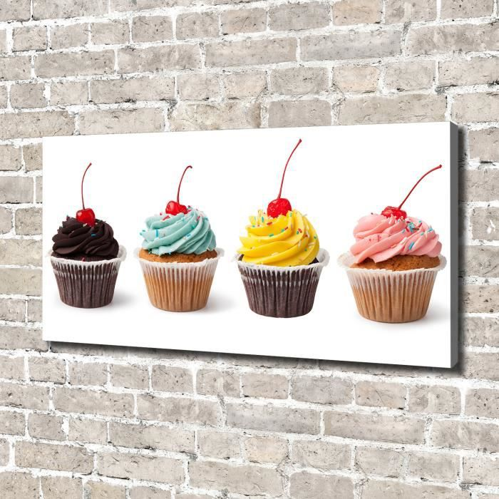 Tulup 140x70 cm art mural - Image sur toile:- Nourriture boissons - Muffins - Multicolore