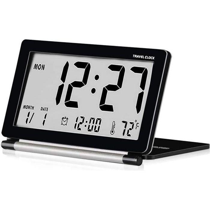 Reveil de Voyage Pliable, Horloge Digital Silencieux Petit Réveil (Noir) Electronique Grand Écran LCD avec Rétro