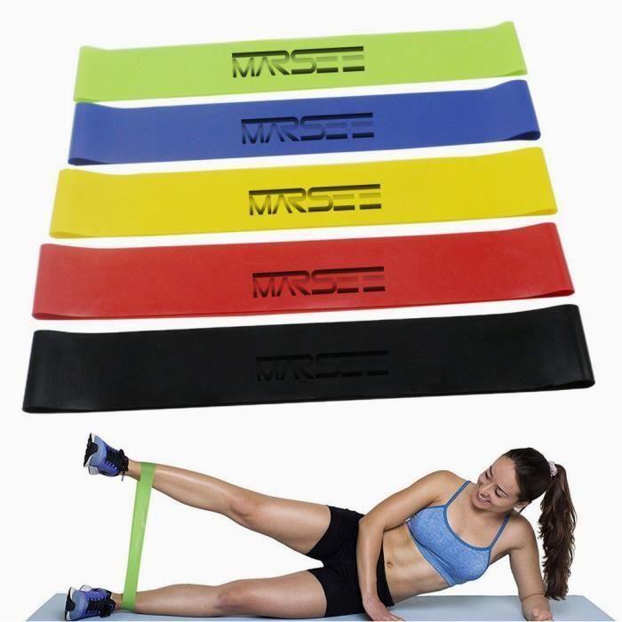 Bande de Resistance Set (5) - Loop Bande Elastique Fitness Équipement d'Exercices pour Musculation Pilates Squat Sport B12291