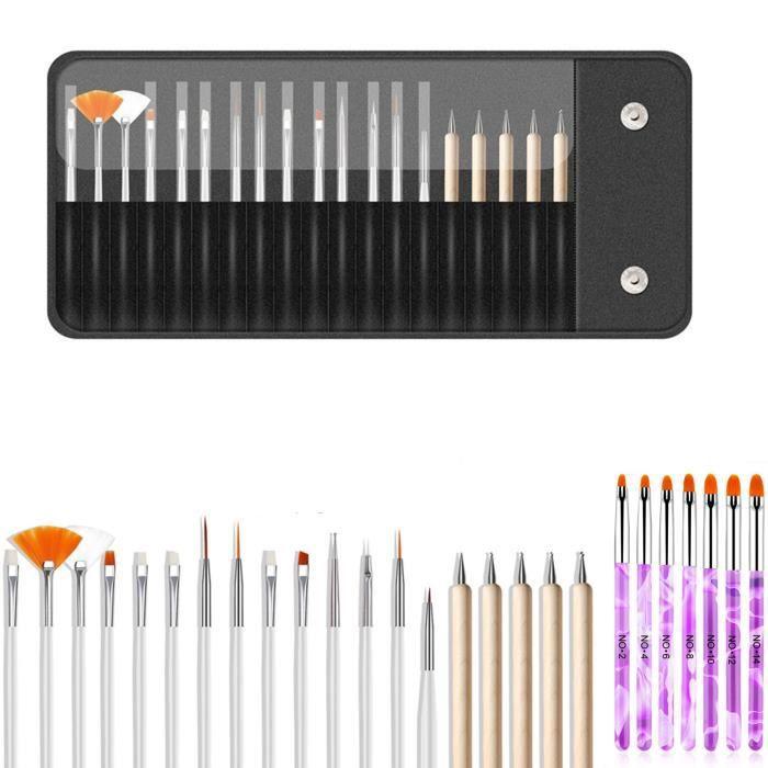 Brosse À Ongles Professionnelle Nail Art Set Ensemble De 20 Pièces Avec 15 Pinceaux Et 5 Outils De Pointillage Pour Nail Art