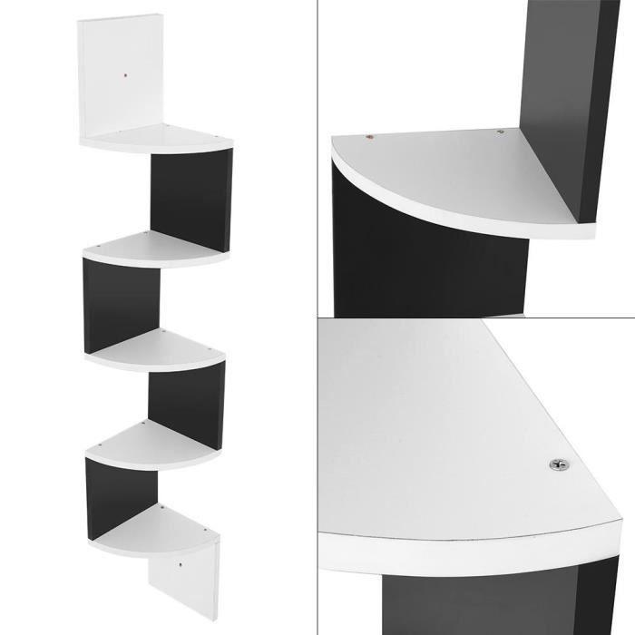 5 Tiers Etagère d'angle Bois Etagère Murale Blanche Etagère Meuble d'angle Etagère Suspendue - Blanc - 20 x 20 x 127,5 cm -QNQ
