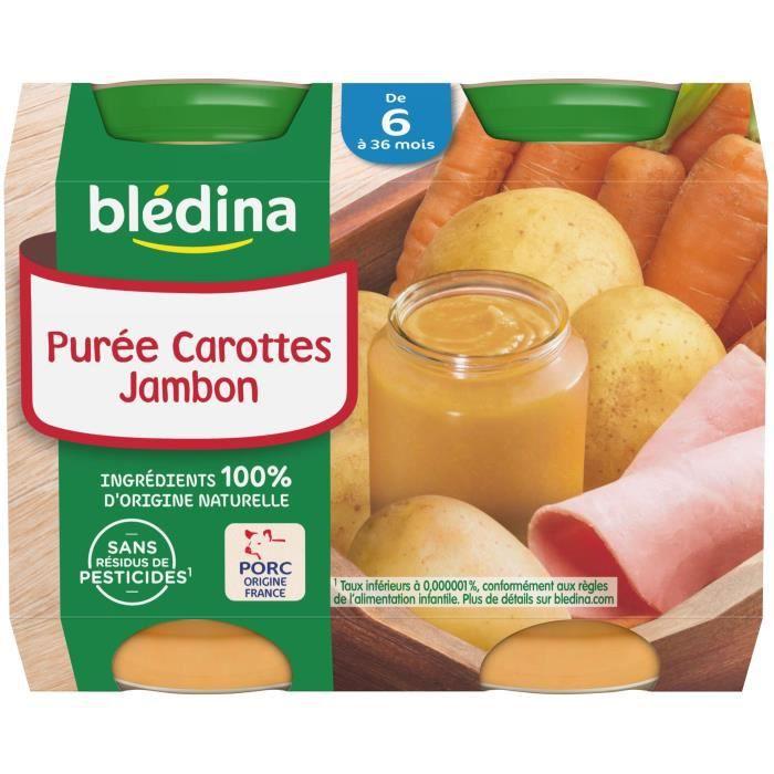 BLEDINA Petits pots Purée carottes jambon - 2x200 g - Dès 6 mois