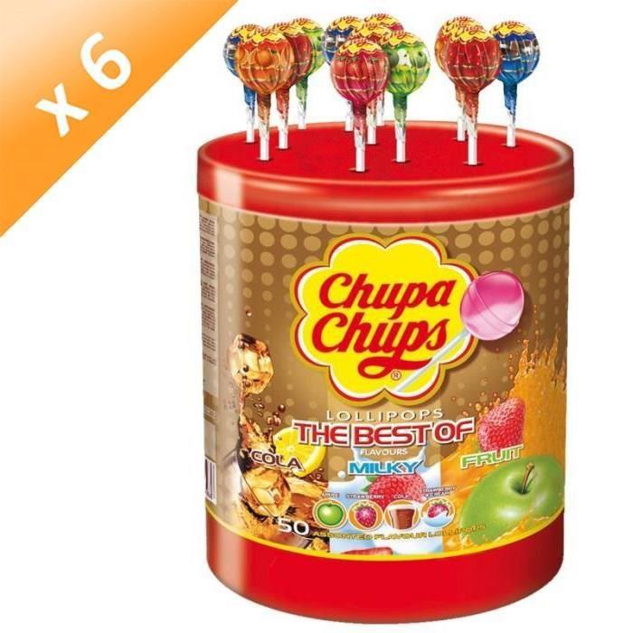 [LOT DE 6] CHUPA CHUPS Tubo de 50 sucettes Best Of - Parfums pomme, fraise, cola et lait fraise
