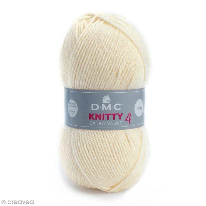 Laine Knitty 4 DMC - 100 g Laine Acrylique Knitty 4, de DMC :Coloris: Blanc ivoire 812Matière : 100 % acrylique Poids : 100 g