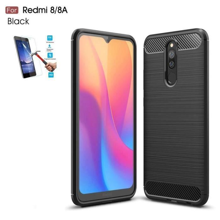Coque Xiaomi Redmi 8 / 8A Carbone Noir + Film Verre Trempé Housse Etui En Silicone Gel Souple hfs-house®