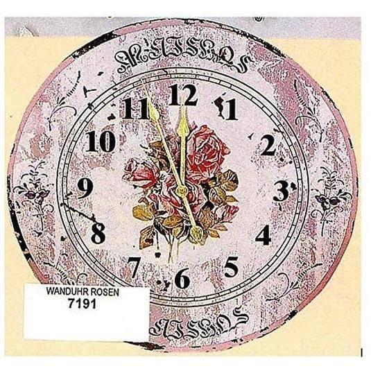 Hoff Interieur 7191 Horloge Mural Roses Maison de Campagne Shabby-Chic 45,5 CM Couleur Rose, Bois