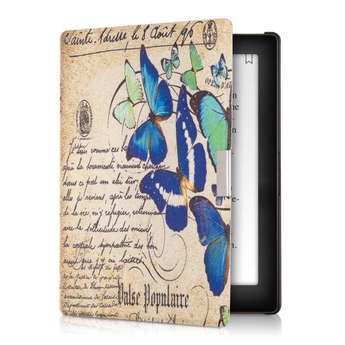 kwmobile Housse élégante en cuir pour Kobo Aura en Motif papillons Bleu à fermeture aimantée pratique