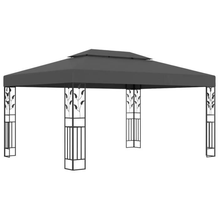 Tonnelle avec double toit 3x4 m Anthracite
