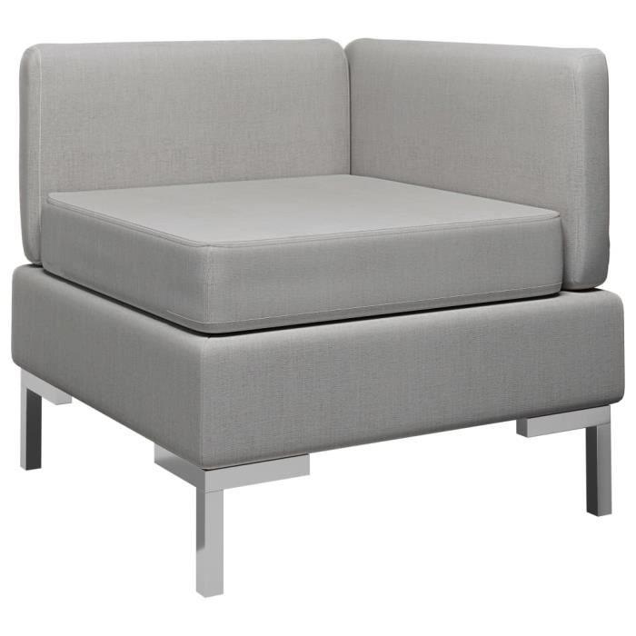 Canapé d'angle sectionnel avec coussin Tissu Gris clair