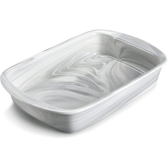 MALACASA Série Bake,Plat à Four Rectangulaire en Porcelaine Marbre - 3200ml - Moules à Pâtisserie Résistants Moules à Soufflé