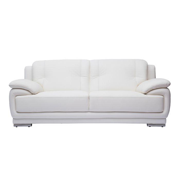 Miliboo - Canapé cuir design 3 places blanc TAMARA - cuir de buffle