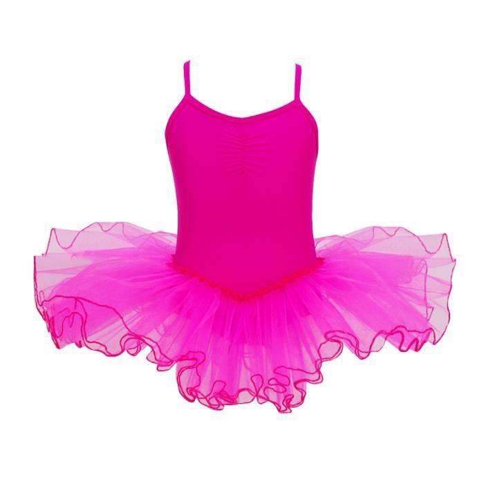 Justaucorps Tutu de Danse Classique Ballet Gymnastique Tulle Robe 2-12 Ans Rose