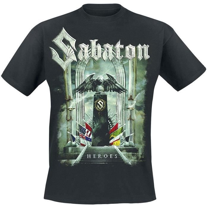Sabaton Heroes To Hell Back T-Shirt Homme Haute Qualité impressioned Vêtement Tees Harajuku Cartoon Tee Shirt