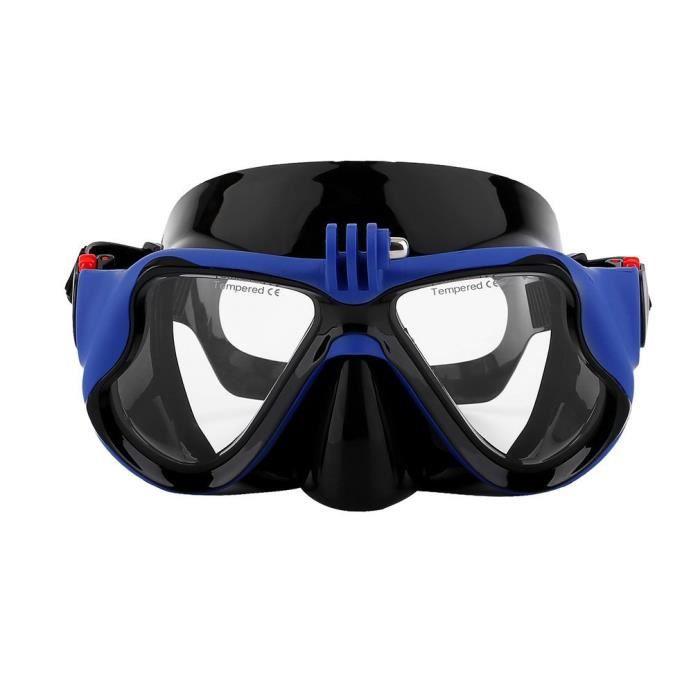 Masque de Plongée Sous-Marine avec Masque de Plongée avec Tuba pour Gopro, Bleu