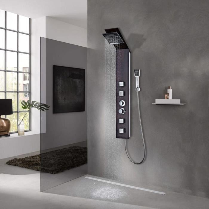 Système dePanneau de douche Colonne de DouchePare baignoire,porte de baignoire,écran de baignoire Colonne de Douche Verre Marron