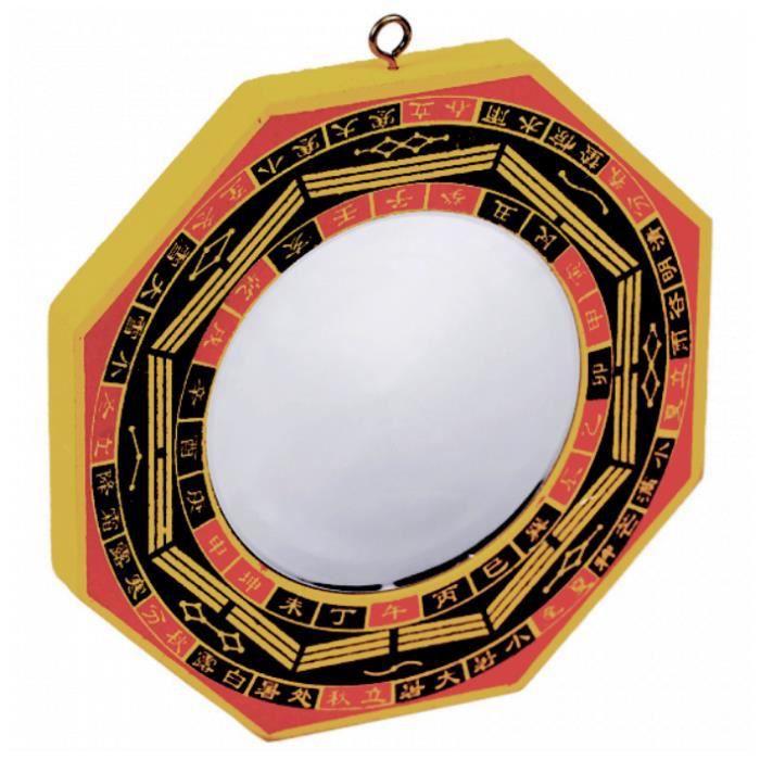 Miroir Feng Shui Bagua concave (13 cm) Hauteur 13 cm / Largeur 13 cm Jaune / Rouge / Noir