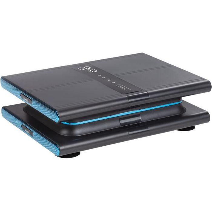 Skandika Sunna - Plateforme vibrante Moderne compacte - jusqu'à 20 Hz - Télécommande - 20 Niveaux - 3 + 1 progr. - Gris/Bleu
