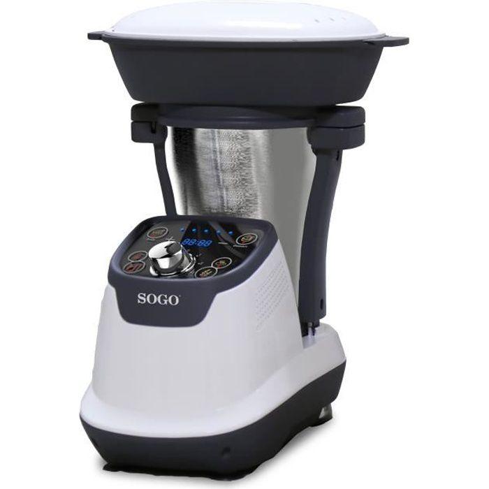SOGO - Robot Cuiseur Multifonction, avec livre de recettes, cruche en acier inoxydable de 1,75 litre, cuiseur vapeur 2 L, 1200 W