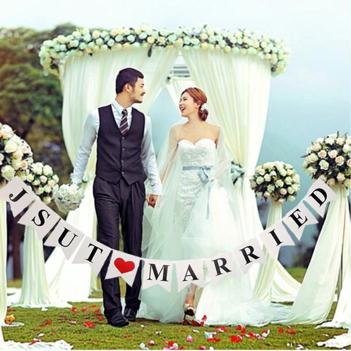 TEMPSA Bannière Banderole Just Married Romantique Décor Maison Party Fête Mariage