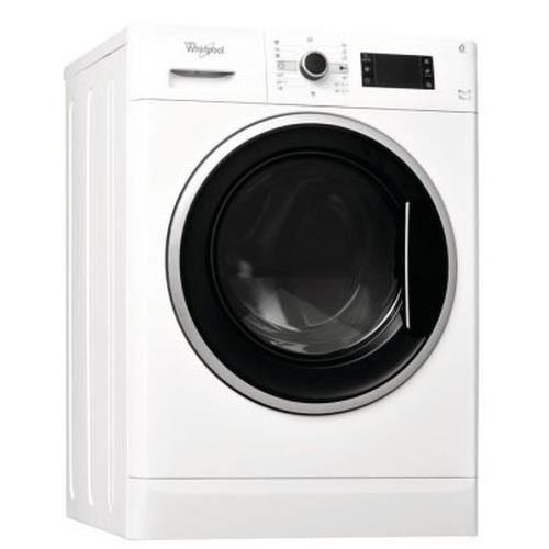Whirlpool WWDC 9716, Charge avant, Autonome, Noir, Blanc, Gauche, Rotatif, Acier inoxydable