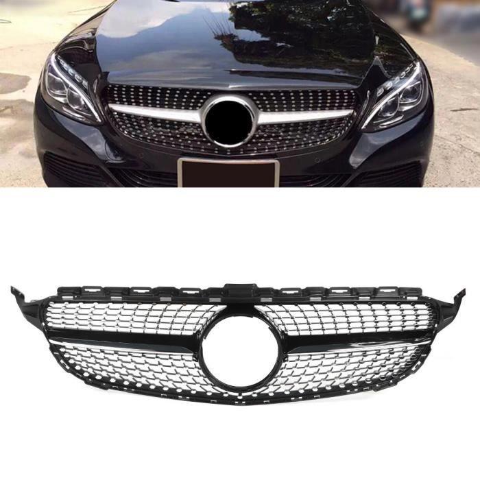 YOSOO Grille de capot Le style de diamant de calandre de pare-chocs avant noir de voiture convient pour Mercedes W205 15-18