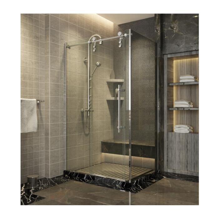 paroi de douche avec porte coulissante rectangulaire. Black Bedroom Furniture Sets. Home Design Ideas
