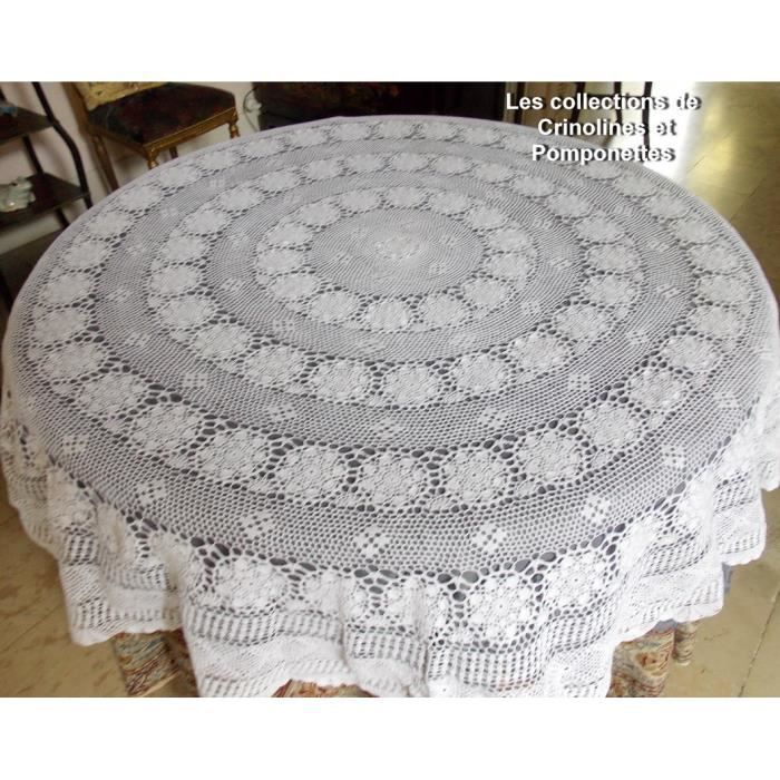 nappe au crochet fait main en coton blanc mat ronde de 170 cm de diametre achat vente nappe. Black Bedroom Furniture Sets. Home Design Ideas