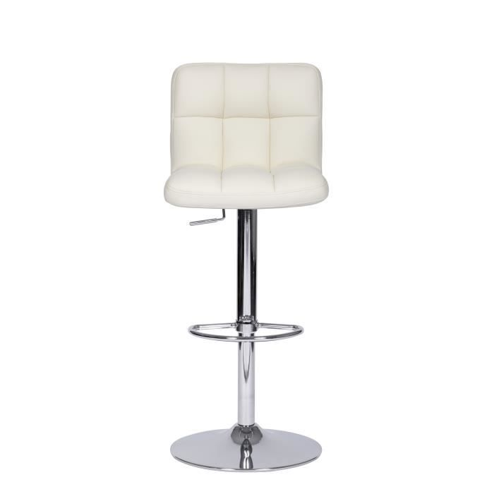 tabouret fauteuil de bar roy blanc r glable simili achat. Black Bedroom Furniture Sets. Home Design Ideas