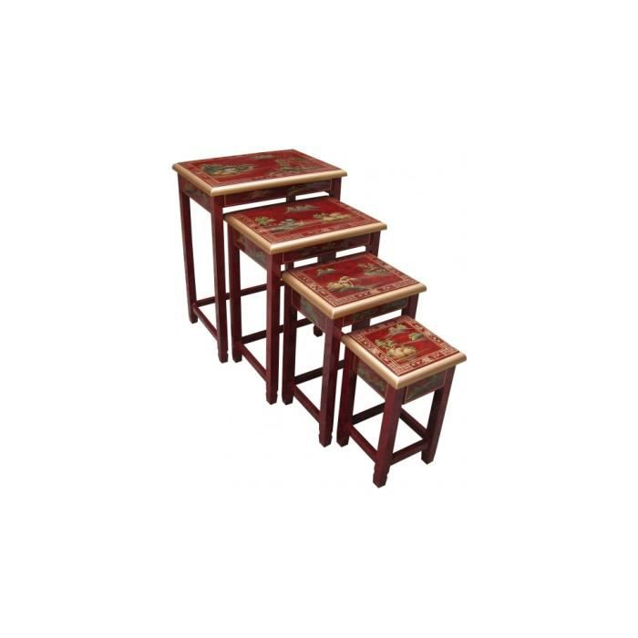 Tables gigognes chinoises laque rouge x4 achat vente for Table basse rouge laque