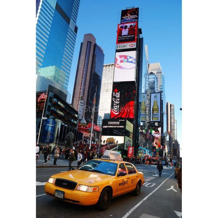 KJHGUFGN Taxi Jaune dans La Rue De New York Murale Autocollants Porte Autocollant Papier Peint Stickers Home Decoration 200 77Cm