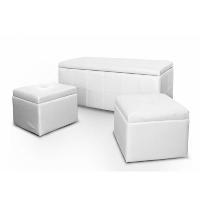 banquette coffre poufs cuir blanc banco achat vente banquette cuir pu polyur thane. Black Bedroom Furniture Sets. Home Design Ideas