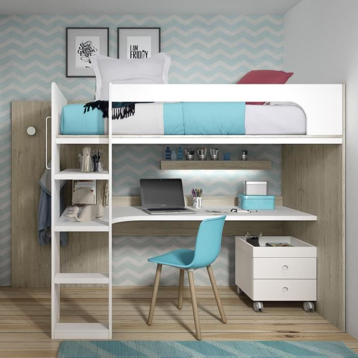lit mezzanine avec bureau  170x2003x1092 cm  chêne