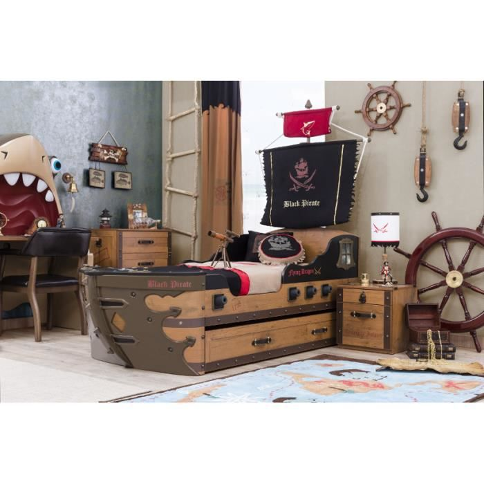 lit bateau black pirate achat vente structure de lit. Black Bedroom Furniture Sets. Home Design Ideas